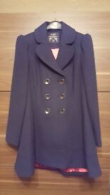 Lovely Navy Lined Warm Coat - Size 12 - NEW!