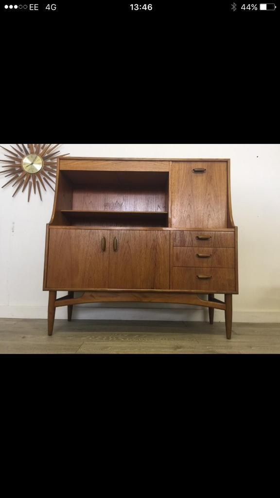 Mid century retro g plan teak compact high board sideboard