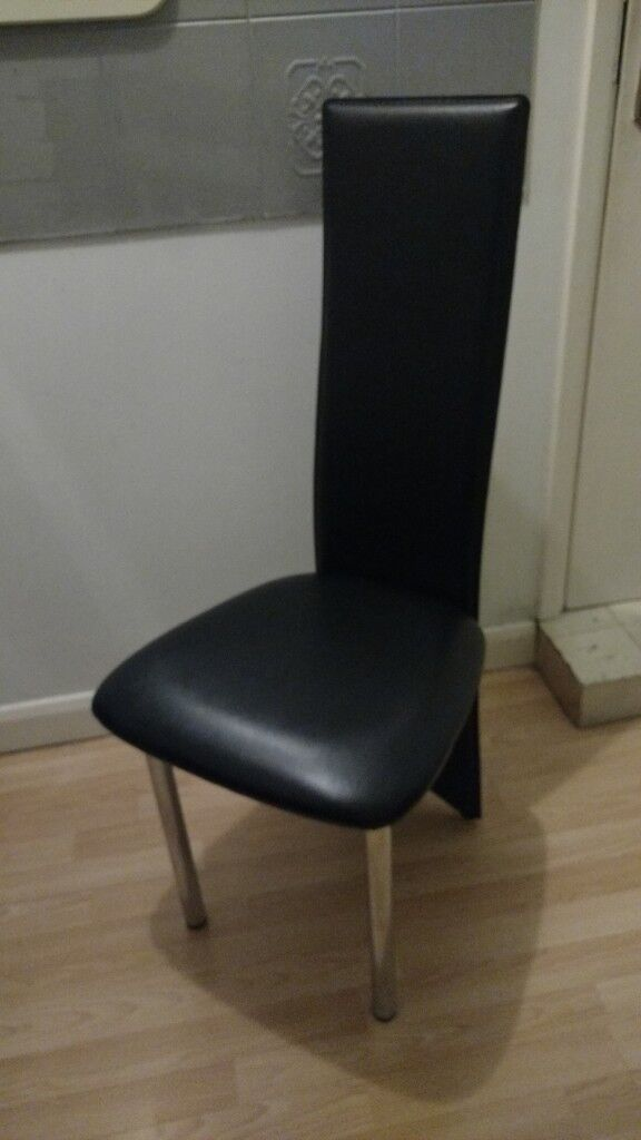 Black Leather Effect And Chrome Dining Room Chairs