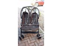 Graco Double Pushchair - black - very good condition, very easy to fold/unfold, reclining seats.