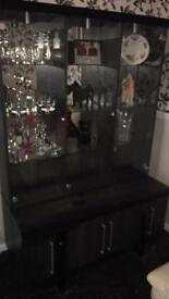 Black glass cabinet with matching tv stand