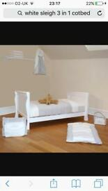 White 3 in 1 sleigh cot bed