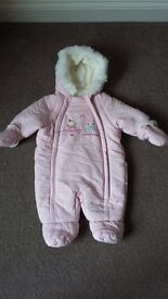 0-3 month pink winter suit with gloves