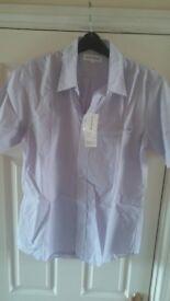 Uniqlo COOLMAX Mens Purple Stripe Short Sleeve Shirt Easy Care
