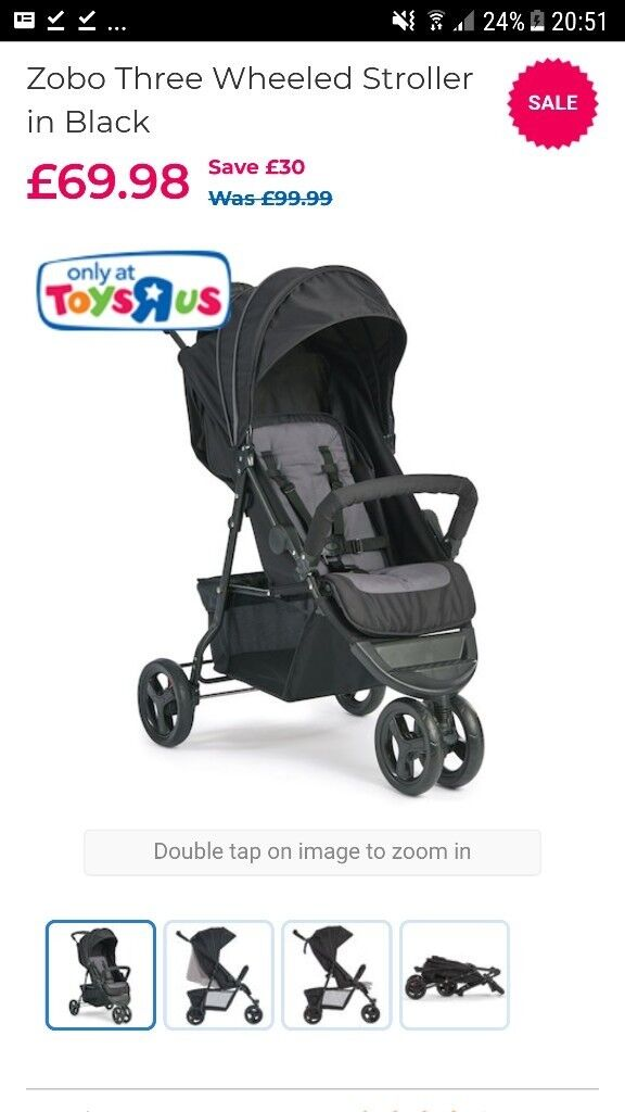 Zobo Three Wheeled Stroller In Black Lightweight And Easy To Use In Caversham Berkshire Gumtree