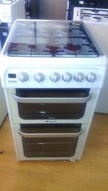 HOTPOINT white 50 CM Gas Cooker with Grill and Oven