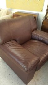 Brown leather 3 +1 seater sofa