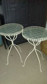 Ikea side tables x 2, cream metal glass tops