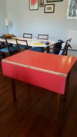 Raspberry Formica kitchen dining Table Vintage