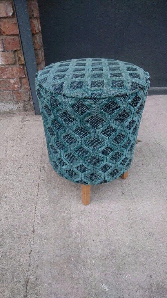 Teal/turquoise /green draylon pouffe