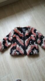 Girls River Island faux fur coat