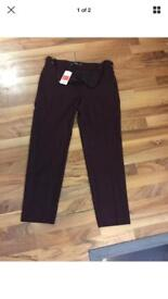 Brand New With Tag Women Mango Trousers, Wine Red, Size 12 Uk