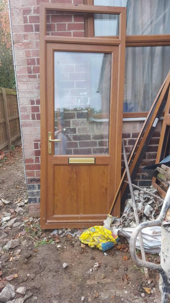 Upvc door. Light oak