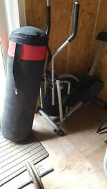 Punch bag and cross trainer