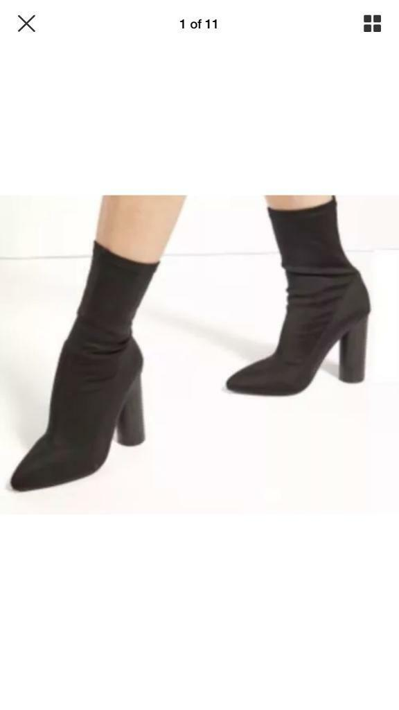 Black Stretch Ankle Heel Boots