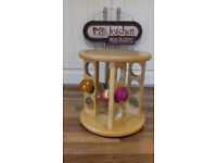 free standing rotating polished wood wooden spice rack holder-revolving carousel stand for 12 jars