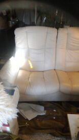 Iconic Stressless reclining settee in cream leather immaculate