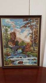 Framed Tapestry picture 'Bridge in Autumn'