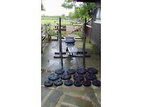 Weight lifting bench, racks and weights