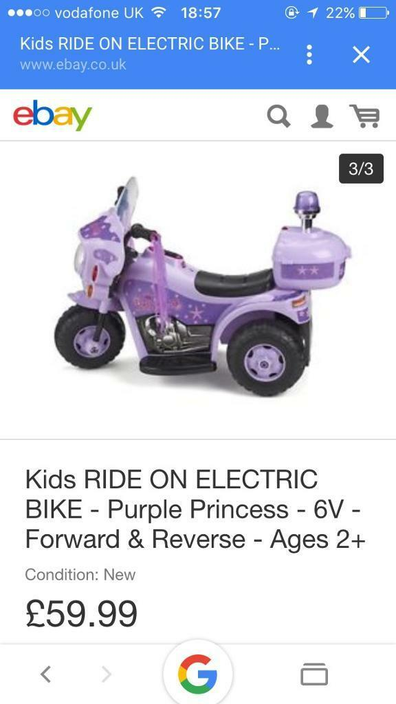 Princess 6V battery powered bike.