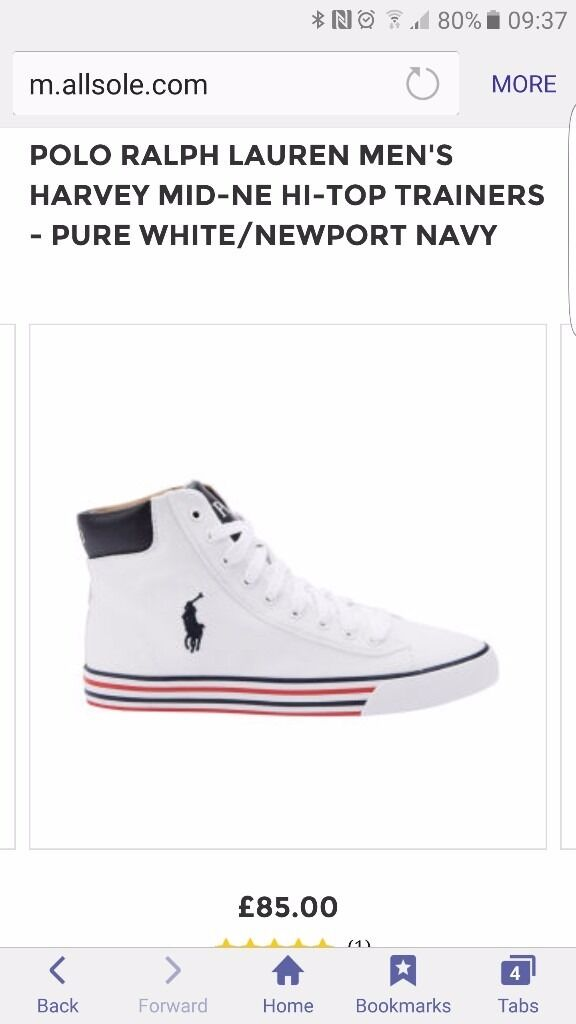 UK 10 GENUINE POLO RALPH LAUREN MEN'S HARVEY MID-NE HI-TOP TRAINERS - PURE WHITE