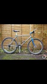 Mens Silver and Blue Marin Mountain Bike