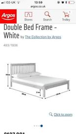 Double bed. White wood.