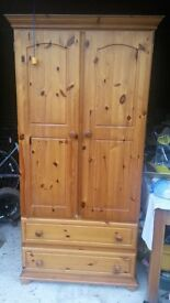 Pine wardrobe - approximately six foot high