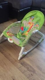 Baby chair adjustable rocker and soothing vibrating option