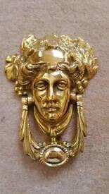 Victorian bacchus solid brass door knocker