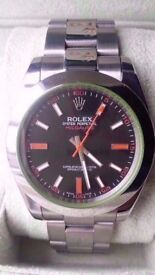 rolex milgauss 40mm black face orange sweeping hand oyster strap sapphire glass waterproof