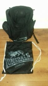 Lonsdale back pack & PE bag - good condition - great for school