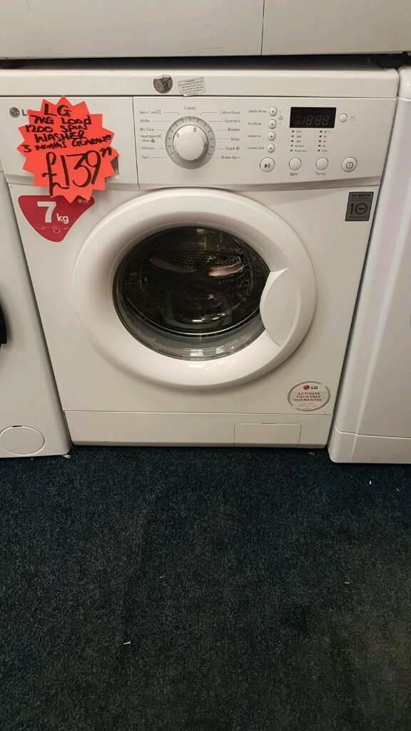 LG 7KG LOAD 1200 SPIN WASHING MACHINEin Leeds City Centre, West YorkshireGumtree - LG 7KG LOAD 1200 SPIN WASHING MACHINE ● 7kg load ● 1200 spin ● white ● digital display ● a energy rating ● under 1 year old ● guarantee ● delivery service available For more information on this product please text 07763548309