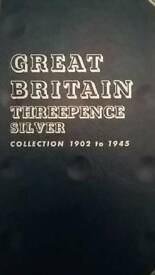 Silver Threepence Coin Folder. British Coins