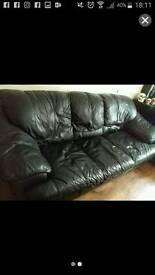 Black Real Leather Couch