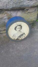 Vintage Retro Queen Elizabeth II Cake Biscuit Storage Tin Metal Royal Blue