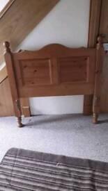 Single divan bed base & pine headboard