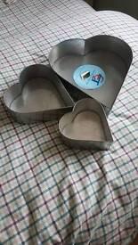 "Heart shaped cake tins. 12"" 8"" and 6"""