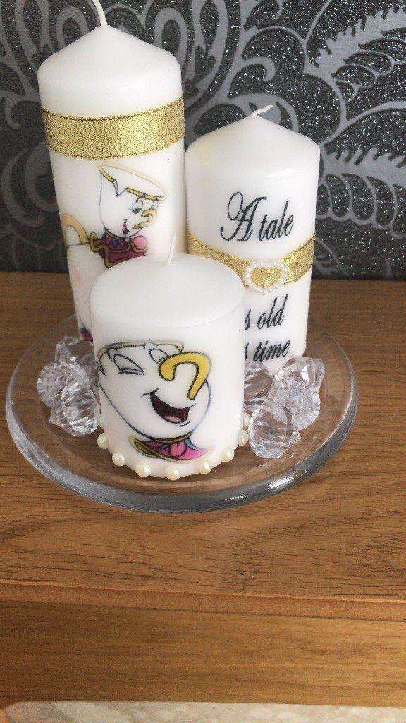 set of 3 printed candles