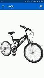 "Boys black dual suspension bike 7 + 20"" wheels new unopened"