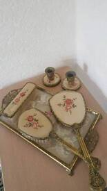Vintage very attractive tray brush mirror send candle holders