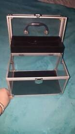 Lockable vanity case with carry handle