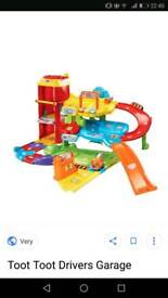 Toot toot drivers garage, extra track and 9 vehicles...excellent condition