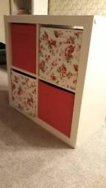 Ikea kallax unit with boxes