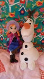 Frozen Anna and Olaf soft toys