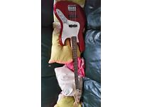 Red Squire Bass Guitar