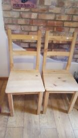 Pair Of Lightweight Pine Dining Chairs
