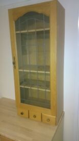 One MFI Kitchen Display cabinets with Leaded Glass Oak Door
