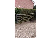 Five bar field gate in hardwood compete with galvanised ironmongery
