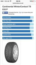 Continental winter tyres 235/40/18 x 2
